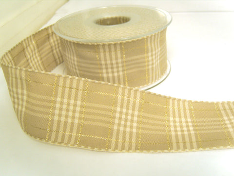 R8652 40mm Oatmeal Vintage Style Rustic Plaid Ribbon by Berisfords