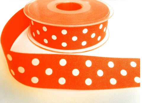 R8656 27mm Fluorescent Orange Polka Dot Spotty Grosgrain Ribbon, Berisfords