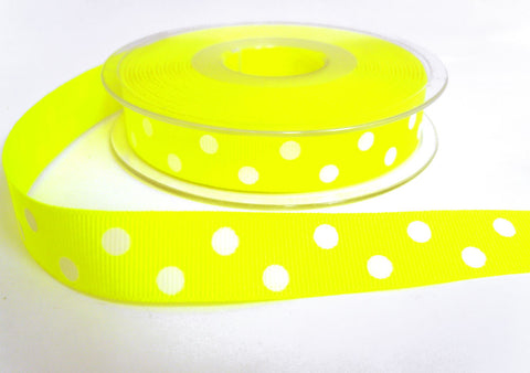 R8659 16mm Fluorescent Yellow Polka Dot Spotty Grosgrain Ribbon, Berisfords