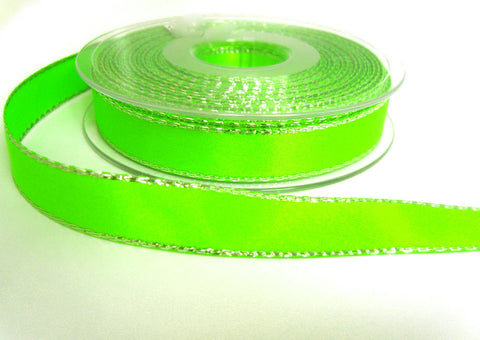 R8670 15mm Fluorescent Green Double Face Satin Ribbon, Metallic Silver Edge