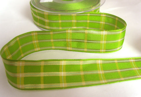 R8690 25mm Apple Green Regal Tartan Check Ribbon by Berisfords