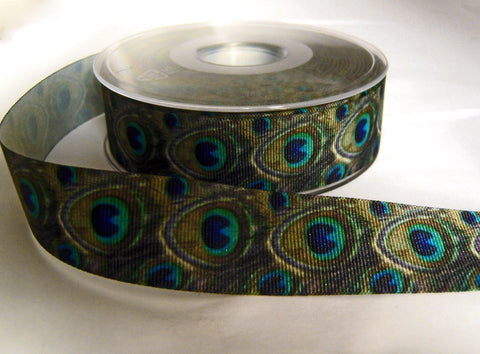 R8717 26mm Grosgrain Ribbon with a Single Face Peacock Feather Design