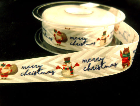 R8757 21mm White Satin and Matt Sheen Ribbon with a Christmas Print.