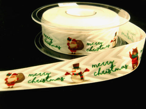 R8758 21mm White Satin and Matt Sheen Ribbon with a Christmas Print.