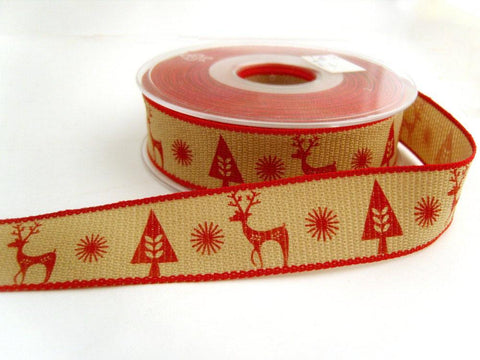 R8759 25mm Beige and Red Scandichic Christmas Ribbon by Berisfords