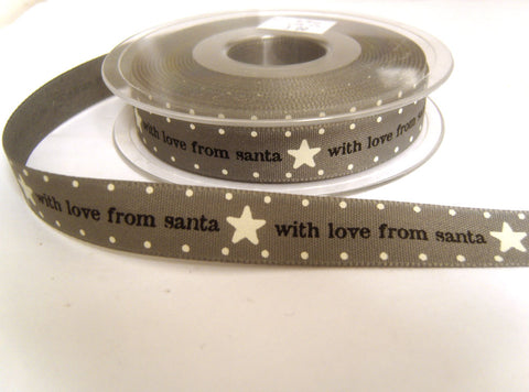 R8762 15mm Grey Rustic Natural Charms Christmas Ribbon by Berisfords