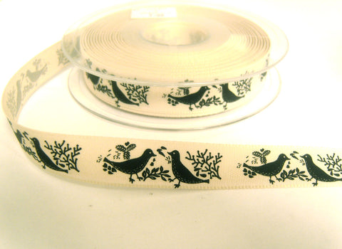 R8764 15mm Natural and Graphite Rustic  Christmas Dove Ribbon by Berisfords