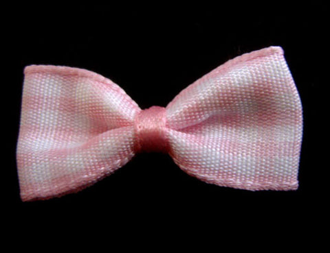 RB036 Pale Pink Gingham Ribbon Bow - Ribbonmoon