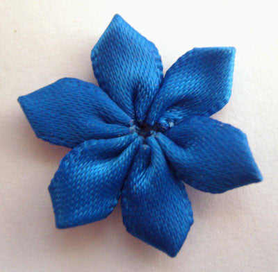 RB068 Electric Blue 6 Petal Satin Flower by Berisfords - Ribbonmoon