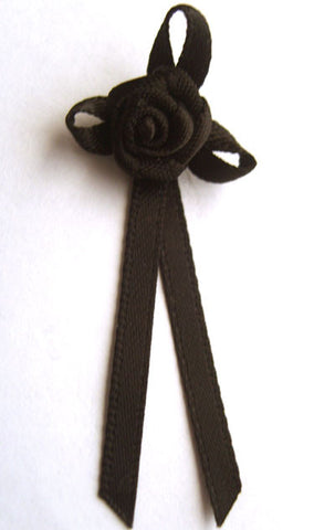 RB145 Black 3mm Satin Long Tail Rose Bow by Berisfords - Ribbonmoon