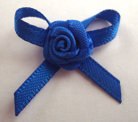 RB157 Electric Blue 3mm Satin Rose Bow by Berisfords - Ribbonmoon