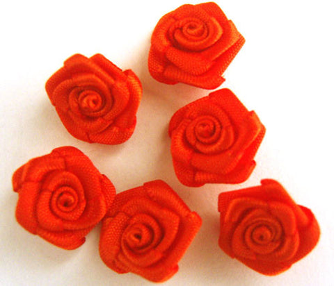 RB161 Autumn Orange 13mm Satin Ribbon Rose Bud by Berisfords