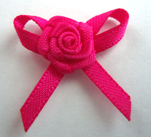 RB176 Shocking Pink 3mm Satin Ribbon Rose Bow by Berisfords - Ribbonmoon