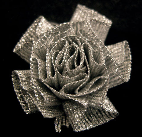 RB183 Silver Metallic Ruched Rosette Ribbon Bow