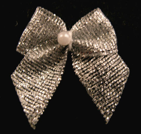 RB188 Silver Metallic Ribbon Bow with a Centre Pearl