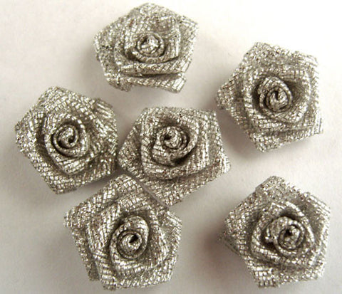 RB199 Silver Metallic Ribbon Rose Bud