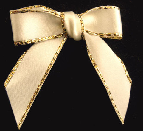 RB218 Bridal White Satin Ribbon Bow with Gold Metallic Borders
