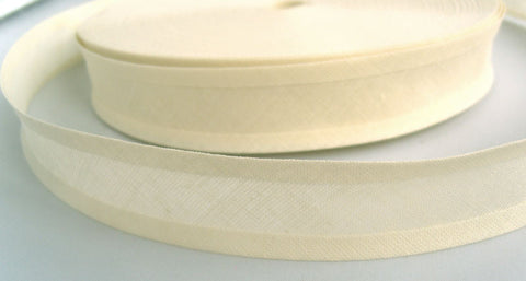 BB345 25mm Cream 100% Cotton Bias Binding Tape - Ribbonmoon