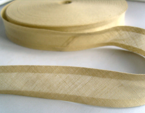BB346 25mm Oatmeal 100% Cotton Bias Binding Tape - Ribbonmoon