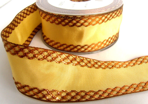 R7757 40mm Honey and Woven Metallic Brown Ribbon, Double Faced - Ribbonmoon