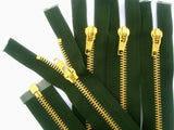 Z5207 69cm Forest Green Brass Teeth No.5 Open End Zip