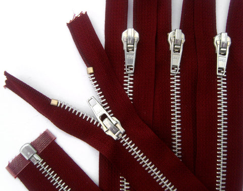 Z5237 51cm Burgundy Silver Metal Teeth No.5 Open End Zip