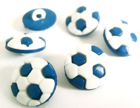 B10026 14mm Blue and White Football Design Novelty Shank Button