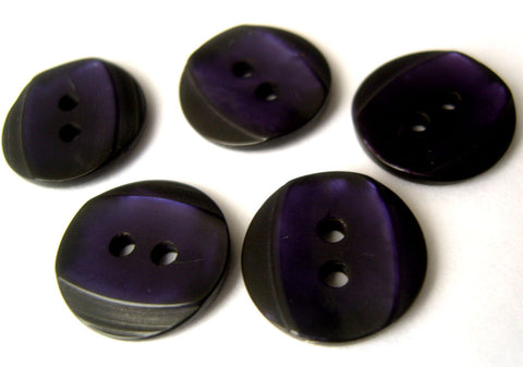 B14084 15mm Ink Navy 2 Hole Button with a Purple Shimmer