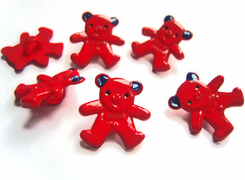B15732 16mm Red and Blue Teddy Bear Shaped Novelty Shank Button