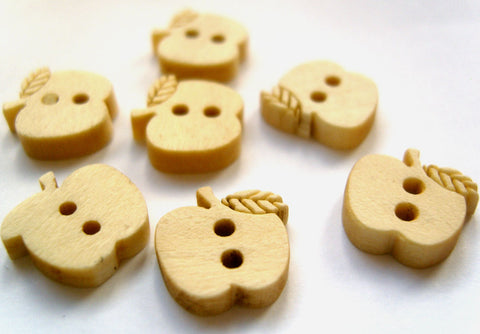 B16373 13mm Apple Shaped Wooden Novelty Two Hole Button