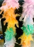 Feather Boa Pale Pink, Orange, Lemon,Mint, Blue Approx 1.65 metres Long
