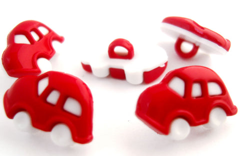 B8339 17mm Red and White Toy Car Novelty Childrens Shank Button