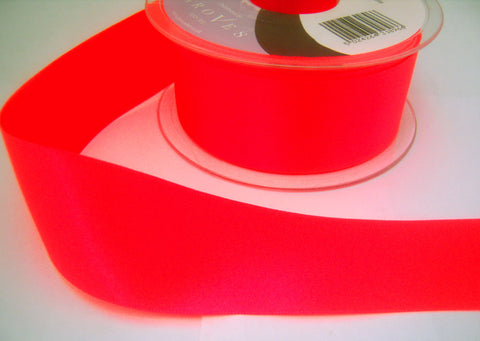R3005 10mm Deep Fluorescent Pink Double Faced Satin Ribbon by Berisfords