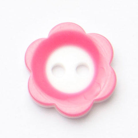 B14500 20mm Deep Pink and White Gloss Daisy Shape 2 Hole Button
