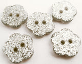 B15121 11mm Silver Glittery Flower Shape 2 Hole Button