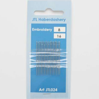 N027 Embroidery Hand Sewing Needles Size 8, 16 Needles