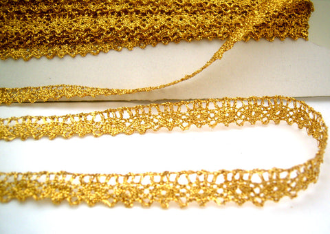 L257 13mm Dark Gold Metallic Lurex Lace
