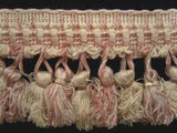 FT508 7cm Ivory and Pale Dusky Pink Tassel Fringe on a Decorated Braid - Ribbonmoon