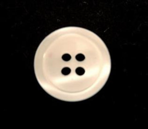 B10796 15mm Bridal White Pearlised 4 Hole Button