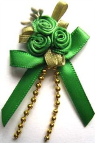 RB394 Emerald Green Satin Rose Bow Buds with Ribbon and Pearl Bead Trim