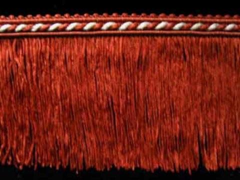 FT1840 75mm Deep Rust Brown and Ecru Cut Fringe on a Corded Braid - Ribbonmoon