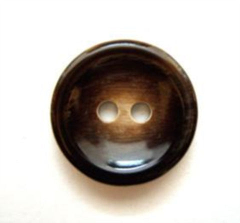 B5022 15mm Dark Brown and Beige High Gloss 2 Hole Button - Ribbonmoon