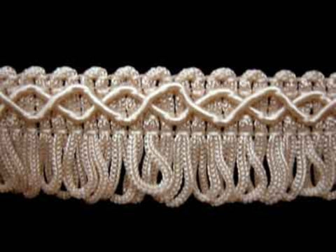 FT461 22mm Cream Looped Fringe on a Decorated Braid - Ribbonmoon