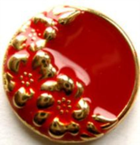 B9238 23mm Gold Metal Shank Button with a Red Enamel - Ribbonmoon