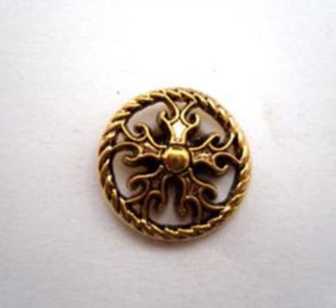 B14478 15mm Gilded Dark Gold Poly Shank Button - Ribbonmoon