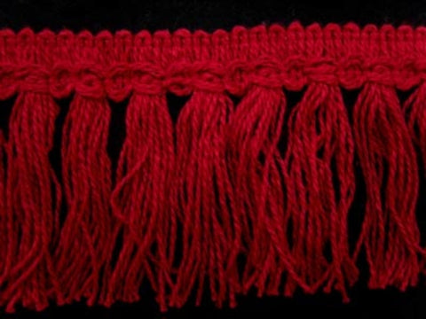 FT1624 9cm Pastel Scarlet Berry Cut Tassel Fringe on a Decorated Braid - Ribbonmoon