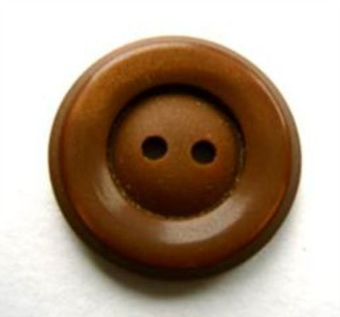 B17155 20mm Deep Sable Brown Pearlised Rim, Matt Centre 2 Hole Button - Ribbonmoon