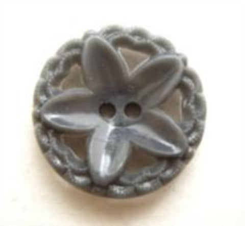 B8869 18mm Grey Nylon 2 Hole Flower Button - Ribbonmoon