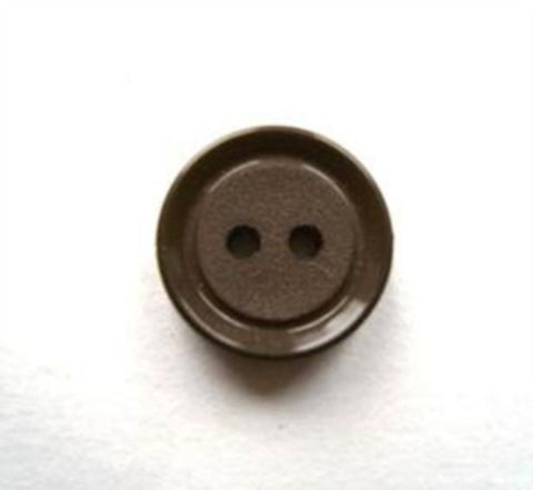 B17137 14mm Misty Dark Brown Matt Centre 2 Hole Button - Ribbonmoon