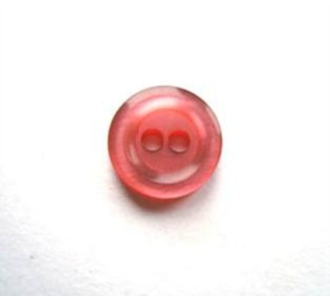 B17116 11mm Dusky Cardinal Pink Pearlised Polyester 2 Hole Button - Ribbonmoon